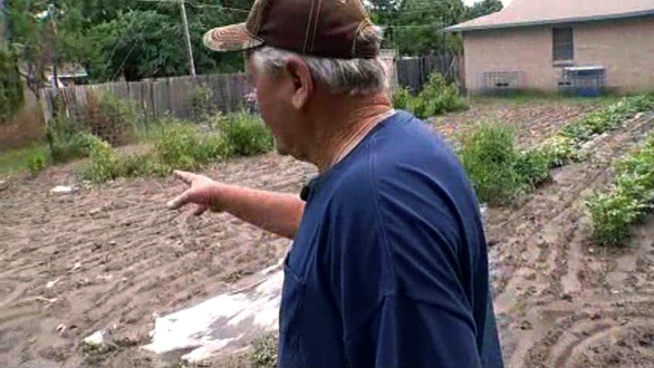 Two men driving in the yard of a 70-year-old retired construction worker attacked the man when he asked them not to drive in his garden.