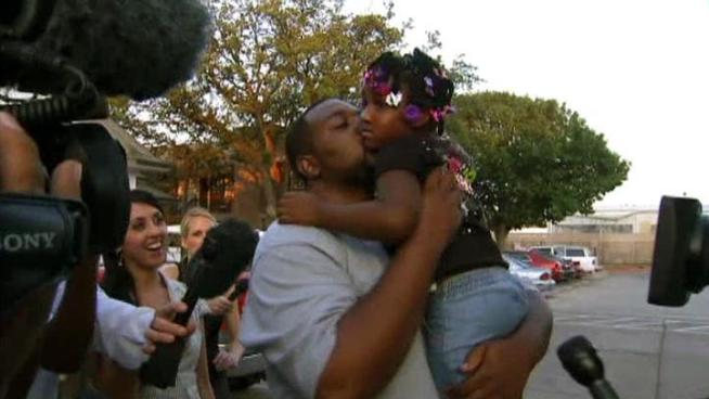 A 4-year-old allegedly kidnapped by her mother's former boyfriend was welcomed home by her father after police found the girl safe in south Fort Worth.