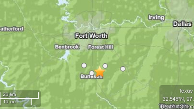The 2.6-magnitude earthquake's epicenter was about two miles east of Burleson, according to the U.S. Geological Survey's website.