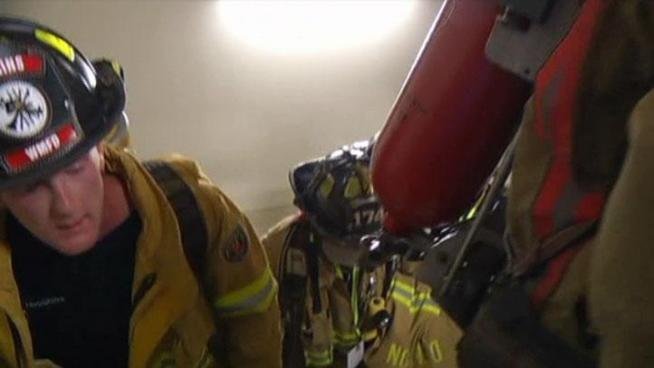 Firefighters from across Texas climbed stairs at the Renaissance Tower in Dallas in memory of the FDNY firefighter showwho died on 9/11.