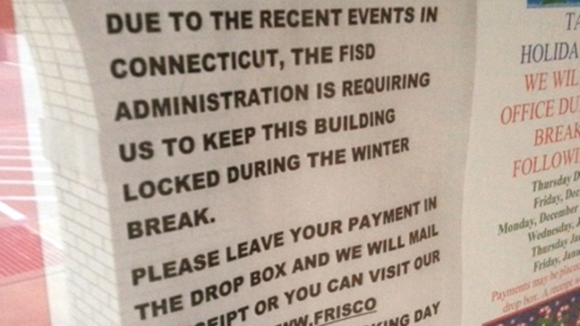 Parents going to pay their school tax in Frisco say they are confused about why the collection building is closed.