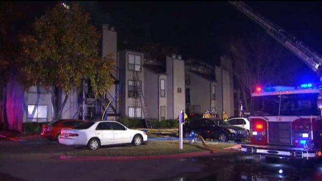 A fire broke out at an apartment building at a complex in Garland. Eighteen families were moved to other apartments on the property after the power was cut to the building.