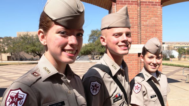 Triplets Home in A&M Corps of Cadets