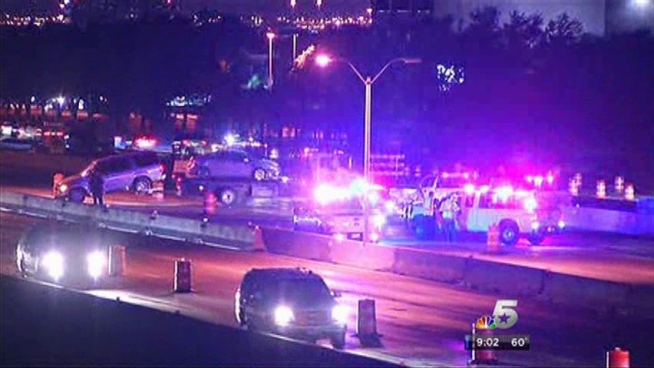 LBJ Freeway partially closed Saturday morning between Josey and Marsh Lane after an overnight crash spilled diesel fuel onto the highway.