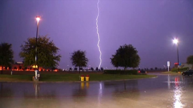Thunderstorms brought rain, wind and lightning to North Texas on Tuesday night.