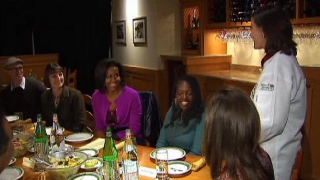 First lady Michelle Obama dined with a small group of parents while promoting her Let's Move initiative to fight childhood obesity.