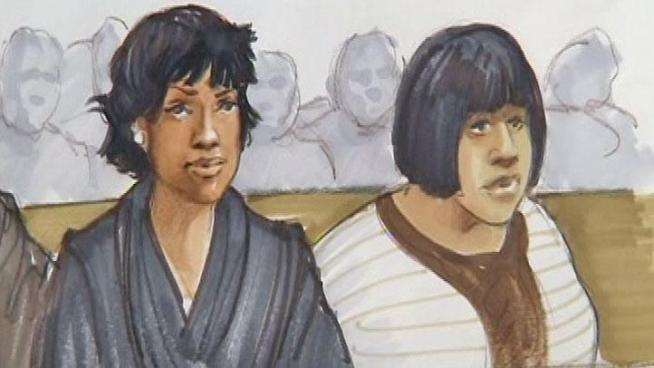 In this courtroom sketch, Jennifer Hudson (left) is seen sitting next to her sister, Julia, in a Chicago courtroom as testimony continues against the man accused of killing their three family members. Charlie Wojciechowski reports.