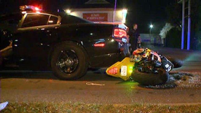 A dangerous high speed chase ended in Dallas Thursday morning when a motorcycle driver crashed into the back of a trooper's car.