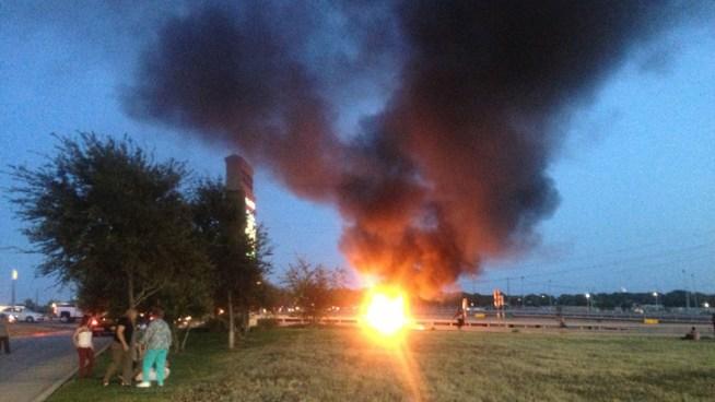 Fire on grassy land