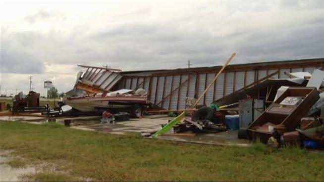 Strong winds tore apart a storage unit in Denton County.