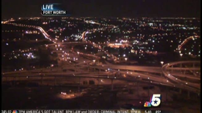 An NBC 5 viewer noticed a weird light drop out of the sky on our sky cam, and then fly away.  What do you think it is?