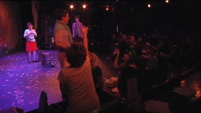 Audience members at Pocket Sandwich Theater in Dallas are encouraged to laugh, boo, and throw popcorn -- and they do.