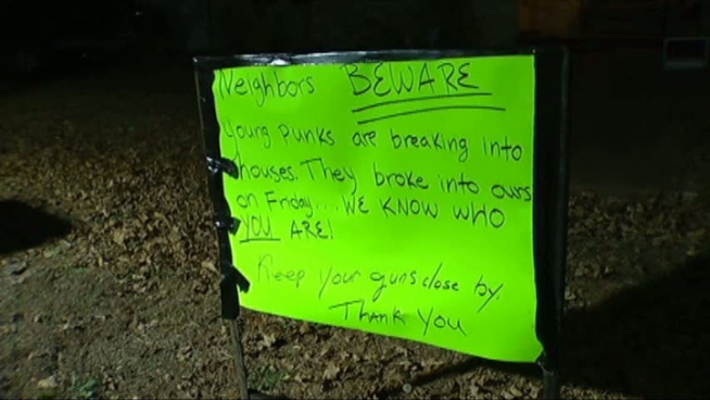 A Fort Worth burglary victim has put up signs on his home warning away thieves -- including a sign that tells neighbors about his recent break-in and reminds them to