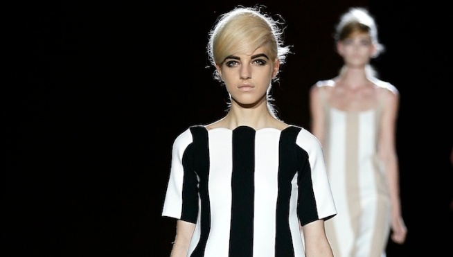 A model walks the runway at the Marc Jacobs spring 2013 fashion show during Mercedes-Benz Fashion Week in New York City (Getty Images). In the video above, supermodel Karlie Kloss talks about how New York Fashion Week is like a family reunion.