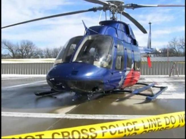 A helicopter ambulance crash landed outside <a title=