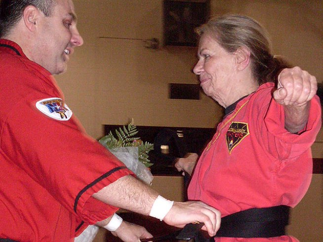 Pam Neil Tests for Her Belt