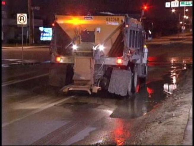 Sand trucks along Coit Blvd in Dallas sanded icy patches in preparation for morning rush hour.