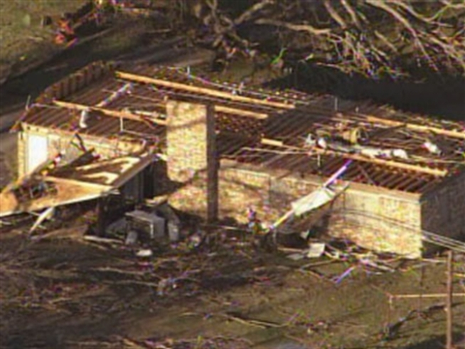 Chopper 5 flies over homes damaged in Wednesday afternoon's storms.