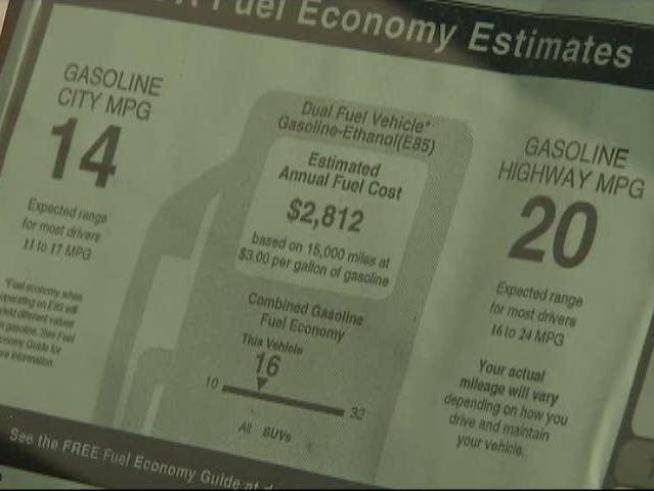State officials are considering a hundred dollar surcharge on new vehicles which don't meet federal fuel efficiency standards.