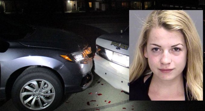 Police: Woman Rams Squad Car While Taking Topless Selfie