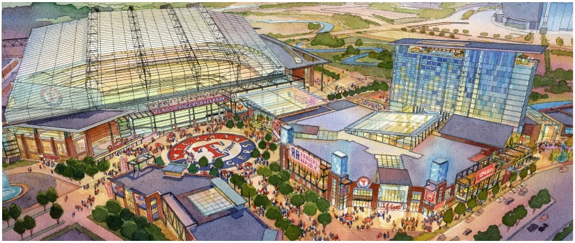 Renderings of New Rangers Ballpark Plans for Arlington