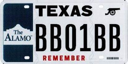 Remember the Alamo With Specialty License Plate - Fort Worth